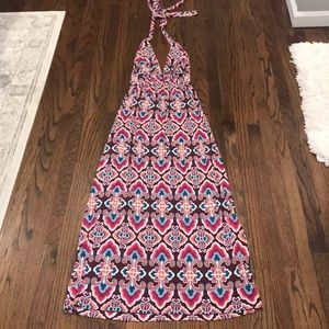 Vibrant print halter tie maxi dress